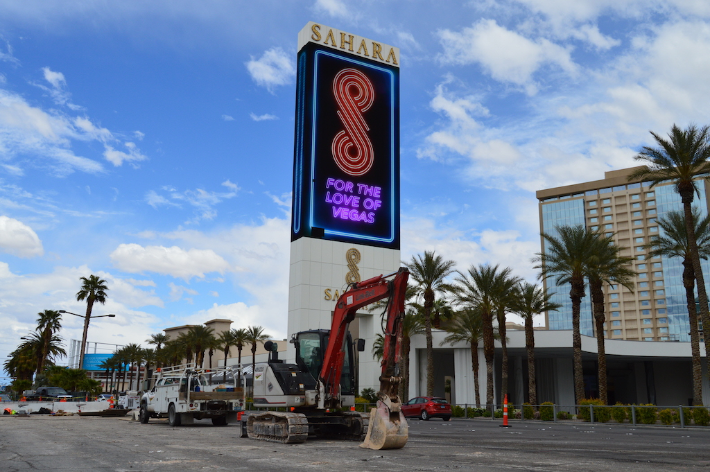 Sign of Sahara Casino and Hotel at Las Vegas Boulevard